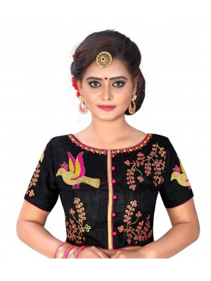 Womens Banglori Silk Heavy Embroidery Work Stitched Ready made Black saree blouse Crop Top
