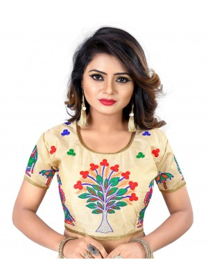 Womens Banglori Silk Heavy Embroidery Work Stitched Ready made Floral Golden saree blouse Crop Top