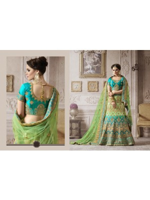 314631a8d6 Quick View · Indian Latest Designer Sea Green & Blue Colored Nylon Satin  Semi Stitched Bridal Lehenga Choli