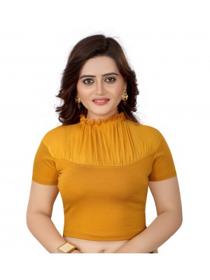 Indian Ethnic Design Stretchable Cotton Lycra Blouse Mustard Tops Readymade Saree Blouses Short Sleeve Crop Top
