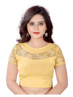 Indian Ethnic Design Stretchable Semar Blouse Golden Tops Readymade Saree Blouses Short Sleeve Crop Top