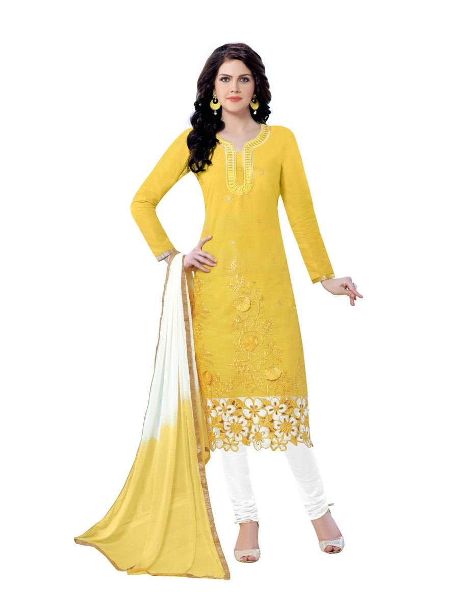 7d538da7a2 Indian Designer Salwar Kameez Latest Designer Yellow Cotton Embroidery Dress