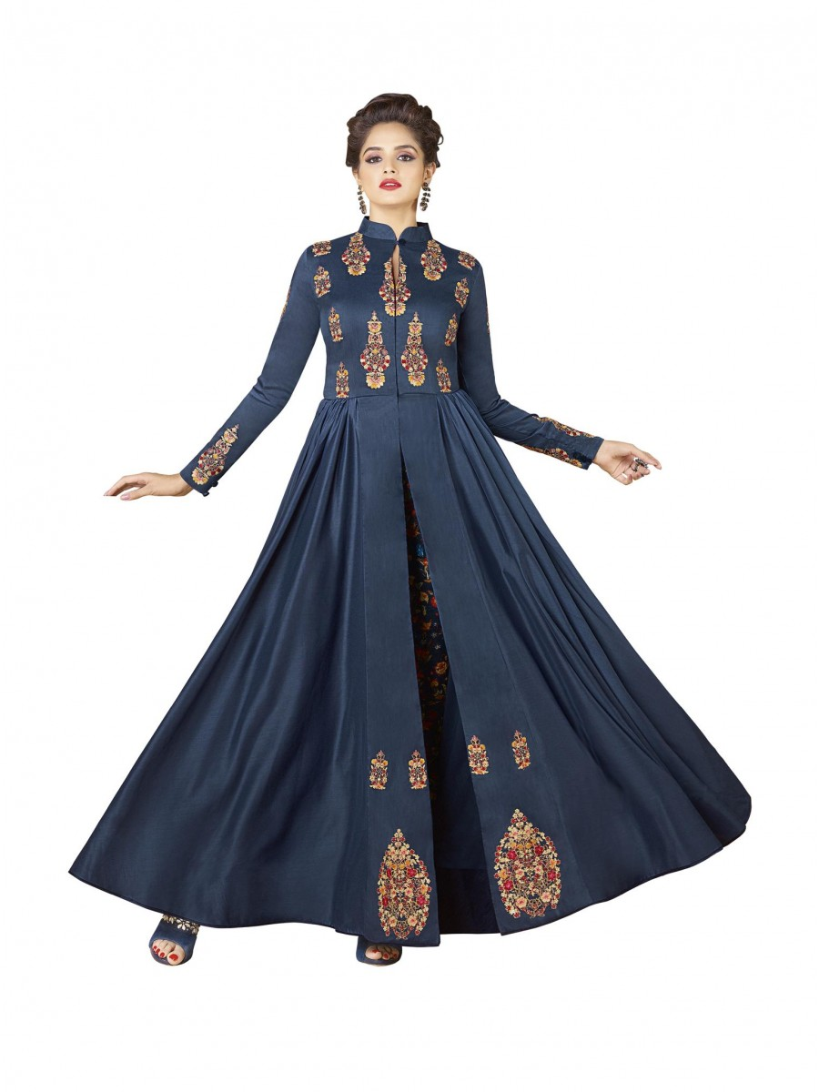 Latest Indian Women s Cotton Gown Long Wear Blue Color Dress Printed Gown debef296d